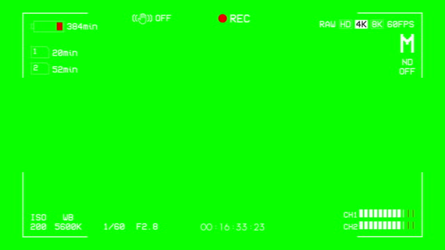 vídeos de stock e filmes b-roll de camera recording screen green box overlay alpha channel - visor digital