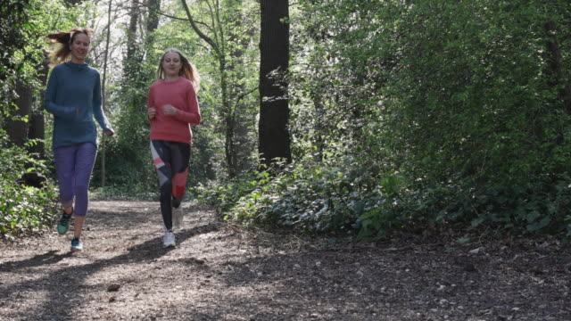WS, camera stabilizator shot of women jogging in forest.