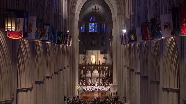 camera tilt down of the apse section in the washington national cathedral during the funeral for john mccain on september 1, 2018 in washington d.c. - apse stock videos & royalty-free footage