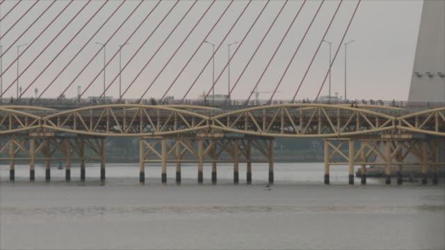 camera tilt on tran thi ly bridge in da nang, vietnam on february 25, 2019. - cable stayed bridge stock videos & royalty-free footage