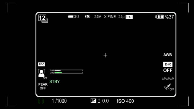 Camera viewfinder iso and shutter speed animation