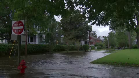 camera zoom out on a flooded street in new bern, north carolina on september 13, 2018. - environment or natural disaster or climate change or earthquake or hurricane or extreme weather or oil spill or volcano or tornado or flooding stock videos & royalty-free footage