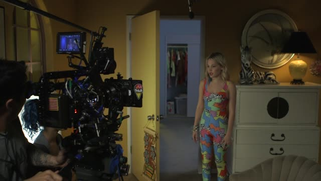 cameraman shown on set shooting interior scene action with kelli berglund at now apocalypse on set visit behind the scenes on july 25 2018 in los... - film set stock videos & royalty-free footage