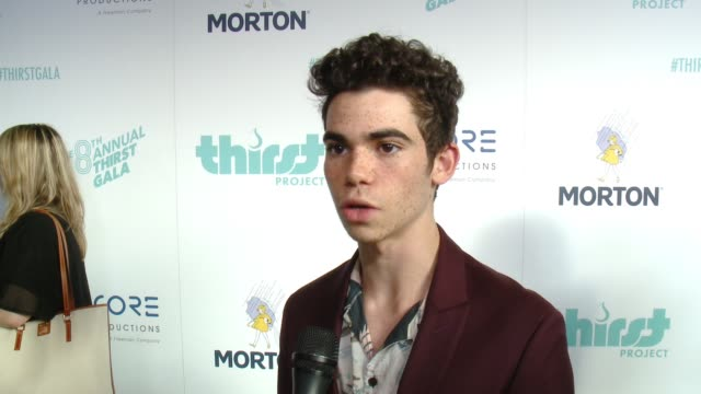 stockvideo's en b-roll-footage met cameron boyce on being here tonight, on presenting at the thirst project's 8th annual thirst gala at the beverly hilton hotel on april 18, 2017 in... - beverly hilton hotel