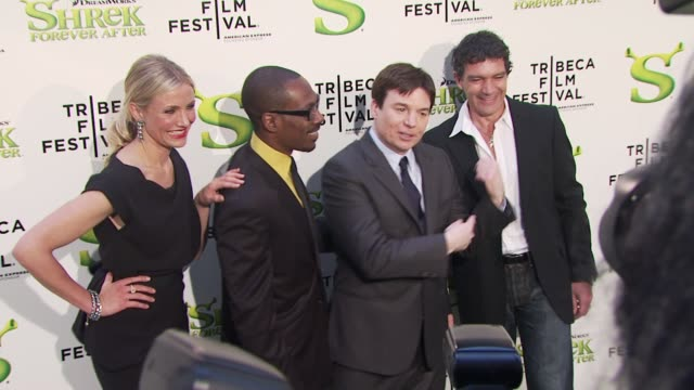Cameron Diaz Eddie Murphy Mike Myers and Antonio Banderas at the 'Shrek Forever After' Opening Night Premiere 9th Annual Tribeca Film Fest at New...