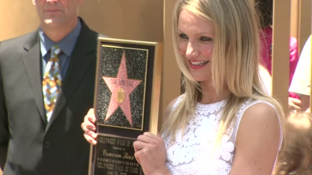 cameron diaz honored with star on the hollywood walk of fame, hollywood, ca, 6/22/09 - walk of fame stock videos & royalty-free footage