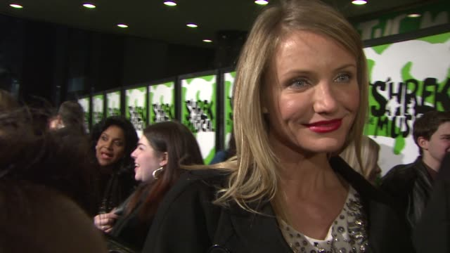 cameron diaz on being happy to see shrek on stage with sutton foster on why it is important to support the theater at the 'shrek the musical'... - cameron diaz stock videos & royalty-free footage