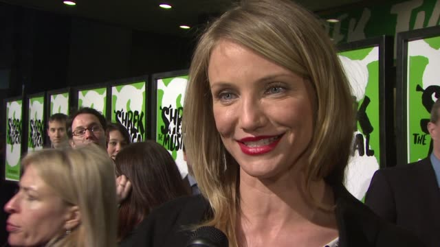 cameron diaz on how proud she is of being a part of the shrek franchise how the musical is true to the original spirit on being here to support the... - cameron diaz stock videos & royalty-free footage
