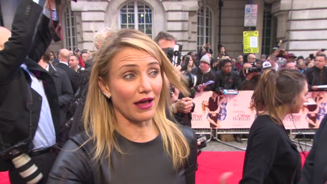 interview cameron diaz on relationships being body conscious and remaining grounded at 'the other woman' uk gala screening at curzon cinema mayfair... - cameron diaz stock videos & royalty-free footage