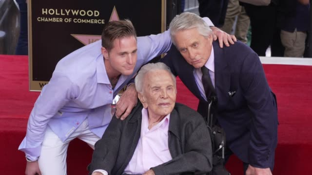 cameron douglas, kirk douglas & michael douglas at michael douglas honored with a star on the hollywood walk of fame on november 06, 2018 in... - walk of fame stock videos & royalty-free footage