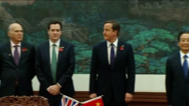 cameron standing with wen jiabao and george osborne mp , vince cable mp , michael gove mp , chris huhne mp close up of osborne - vince cable stock videos & royalty-free footage