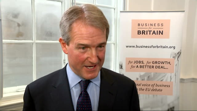 cameron warned about new immigration policy as paterson calls for the uk to leave the eu england london int owen paterson mp interview sot unwisef of... - owen paterson stock videos and b-roll footage