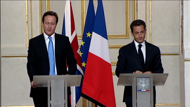 cameron/sarkozy joint press conference; david cameron mp press conference sot - great honour to be here / you were the first european politician i... - co ordination stock videos & royalty-free footage