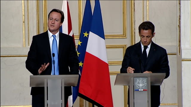 cameron/sarkozy joint press conference q do problems in eurozone show britain was right to stay out of euro david cameron mp qa sot think we were... - devaluation stock videos and b-roll footage