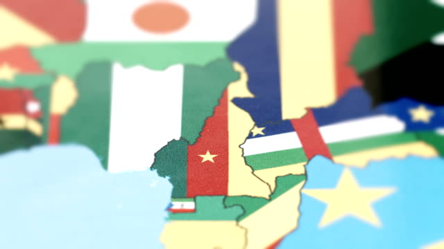 Cameroon Borders with National Flag on World Map