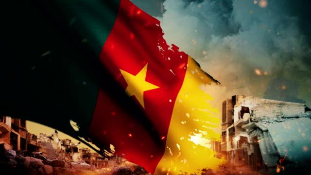 4K Cameroon Flag - Crisis / War / Fire (Loop)