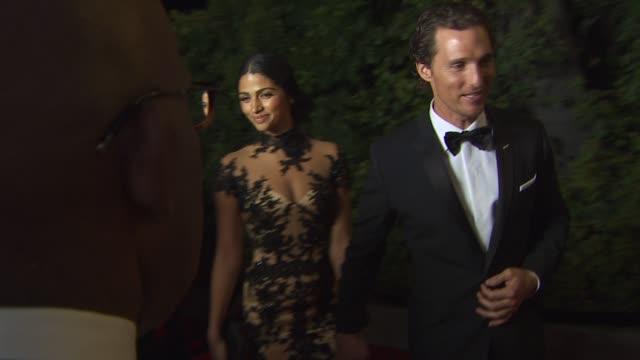 Camila Alves and Matthew Mcconaughey at the 2011 Vanity Fair Oscar Party Arrivals at Hollywood CA