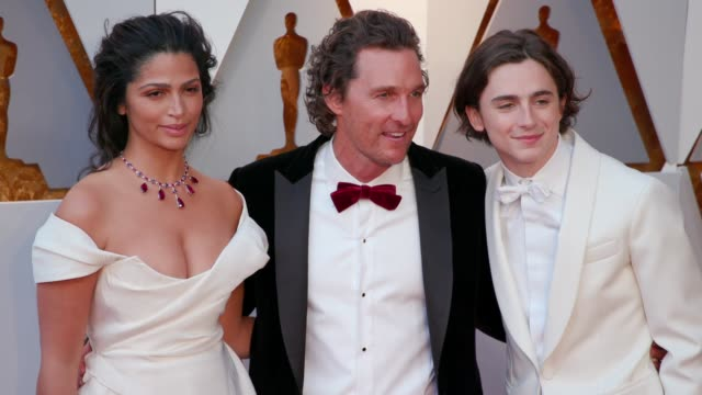 Camila Alves Matthew McConaughey and Timothée Chalamet at 90th Academy Awards Arrivals at Dolby Theatre on March 04 2018 in Hollywood California