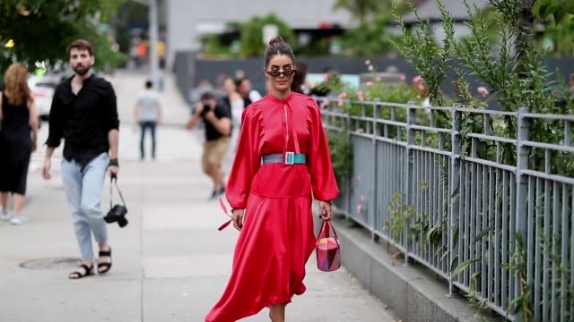 camila coelho wearing red dress bag is seen outside selfportrait during new york fashion week spring/summer 2019 on september 8 2018 in new york city - new york fashion week stock videos & royalty-free footage