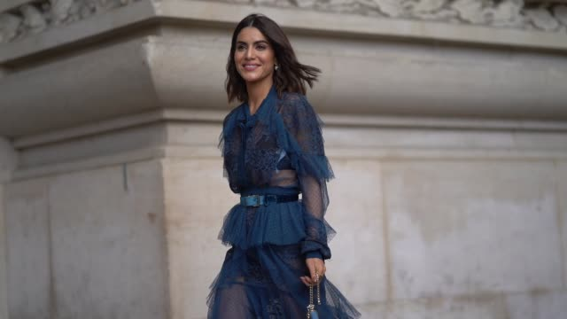 camila coelho wears a blue mesh lace dress, a blue bag, outside elie saab, during paris fashion week womenswear spring/summer 2018, on september 30,... - mesh textile stock videos & royalty-free footage