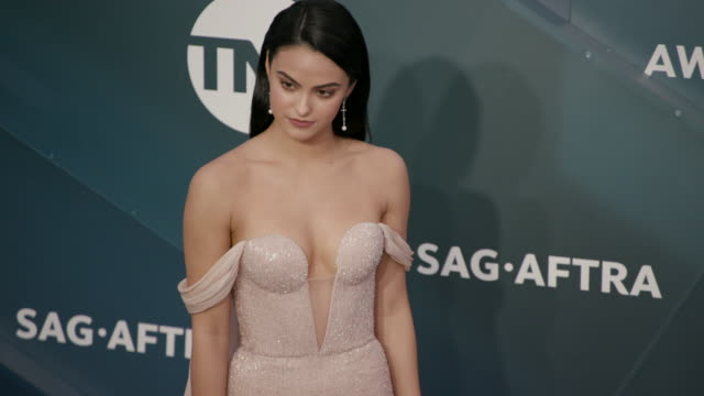 slomo camila mendes at the shrine auditorium on january 19 2020 in los angeles california - screen actors guild stock videos & royalty-free footage