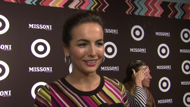 vídeos de stock, filmes e b-roll de camilla belle says she's wearing target and has in the past at the missoni for target private launch event at new york ny - missoni