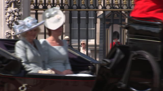 camilla, duchess of cornwall and catherine, duchess of cambridge participate in the trooping the color 2018 at the royal horseguards in london. the... - (war or terrorism or election or government or illness or news event or speech or politics or politician or conflict or military or extreme weather or business or economy) and not usa stock videos & royalty-free footage