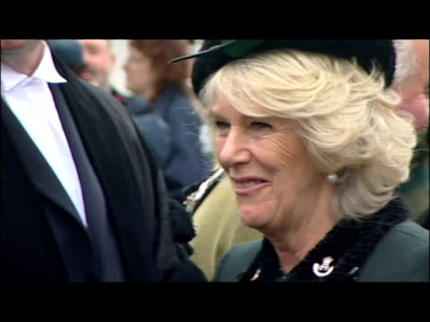 camilla duchess of cornwall arrival and inspection for the rifles freedom parade, salisbury. camilla attends the rifles freedom parade on november... - wiltshire stock videos & royalty-free footage