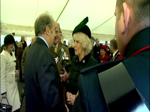 camilla, duchess of cornwall attends reception for servicemen and their families at the rifles freedom parade, salisbury. camilla at rifles freedom... - wiltshire stock videos & royalty-free footage