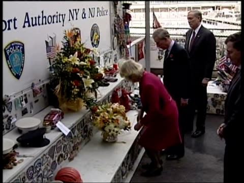 camilla, duchess of cornwall laying flowers at site of collapse of the world trade center after terrorist attack on september 11th as prince charles... - 2005 stock videos & royalty-free footage
