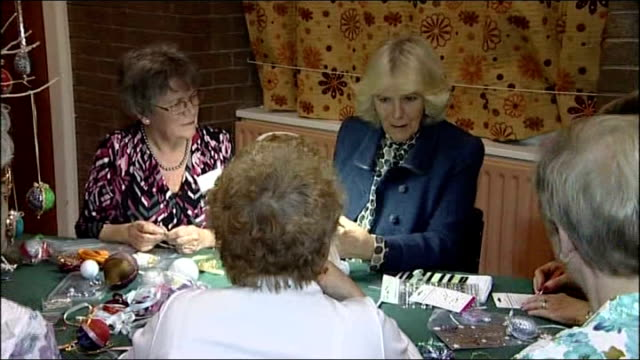 camilla, duchess of cornwall visit to lincolshire south women's institute; camilla being shown how to make a christmas tree decoration / camilla... - ストリクトリーカムダンシング点の映像素材/bロール