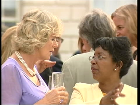 Camilla Parker Bowles fundraising event BBC Camilla chatting to guest GV Somerset House as fundraising event in progress MS Camilla chatting to guests