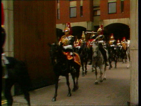 camilla parkerbowles divorce itn lib tx 28781 ext london andrew parkerbowles as horseguard on horse towards ms more towards ditto cms andrew... - camilla duchess of cornwall stock videos and b-roll footage