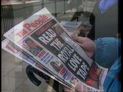 camilla parker-bowles divorce; tx 17.1.93 cms charles and camilla on front page of newspaper and headline itn lib location unknown: cms prince... - 離婚点の映像素材/bロール