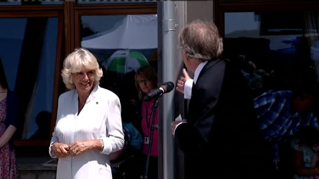 vídeos de stock e filmes b-roll de camilla visit to little harbour hospice in st austell camilla along to easel / man introducing camilla sot / camilla unveiling plaque / man... - st austell