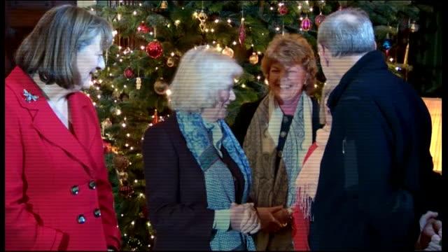 camilla visits bowood house christmas extravaganza; england:wiltshire: calne: bowood house: int **beware flash photography** camilla, duchess of... - チッペナム点の映像素材/bロール