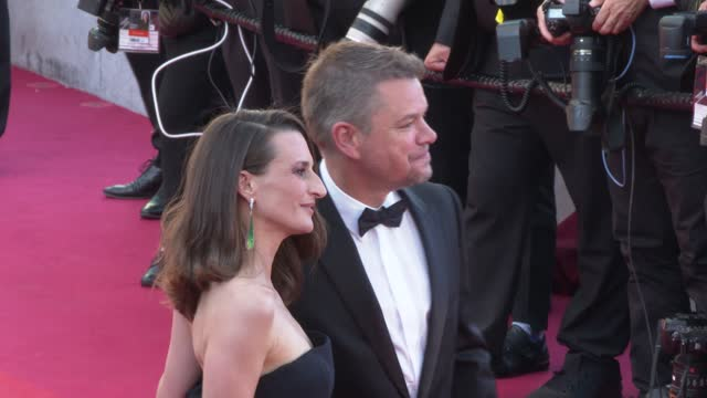 """camille cottin, matt damon attends the """"stillwater"""" screening during the 74th annual cannes film festival on july 8, 2021 in cannes, france. - cannes stock videos & royalty-free footage"""