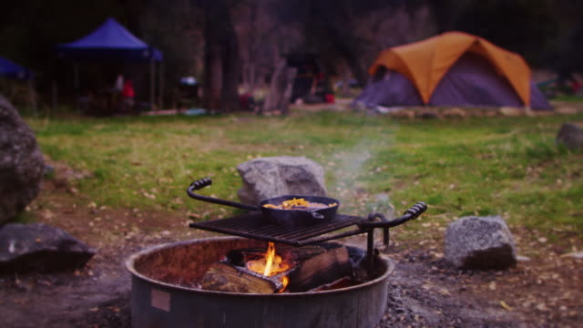 camp breakfast cooking - cast iron stock videos and b-roll footage