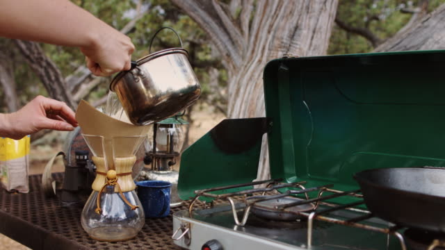 camp coffee - camping stove stock videos and b-roll footage