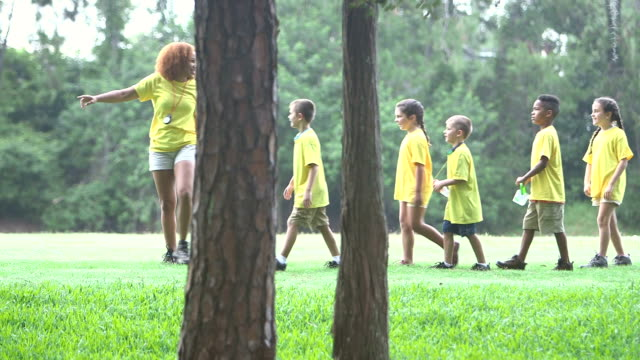 camp counselor with children in park walking single file - following stock videos & royalty-free footage