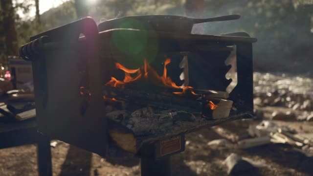 camp fire grill - cast iron stock videos and b-roll footage
