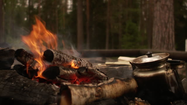 a camp fire sweden. - coffee pot stock videos & royalty-free footage