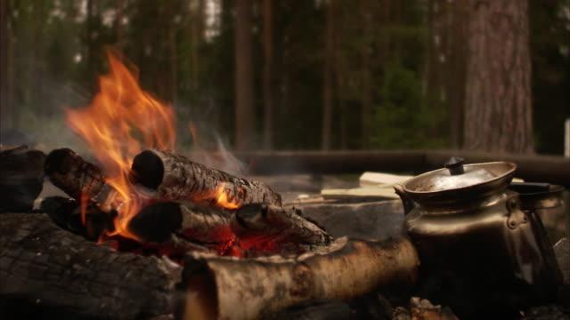 a camp fire sweden. - bricco per il caffè video stock e b–roll