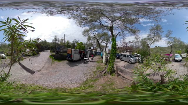 360 vr / camp ground in olive tree garden - 360 video stock videos & royalty-free footage