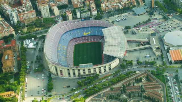 camp nou barcelona aerial view. barça team stadium - barcelona spain stock videos & royalty-free footage