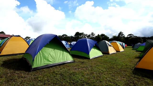 camp tent on phukradueng peak ,loei province,thailand - tent stock videos & royalty-free footage