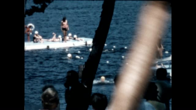 camp woodmere water slide from the late 1960's. - holiday camp stock videos & royalty-free footage