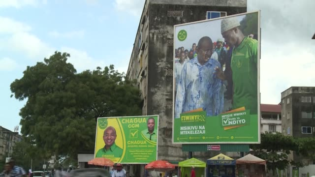 campaign posters are all over stone town in zanzibar ahead of the presidential elections as the inhabitants of the semiautonomous archipelago head to... - zanzibar archipelago stock videos & royalty-free footage