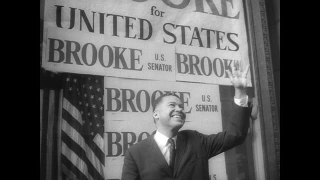 cu campaign stickers in a row all reading 'brooke us senator' / attorney general edward brooke hands in his voting slip at polling station in boston... - ballot box stock videos & royalty-free footage