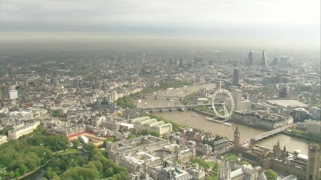campaign to create greater london national park city; file london: air view - aerial over westminster area of london - greater london stock videos & royalty-free footage